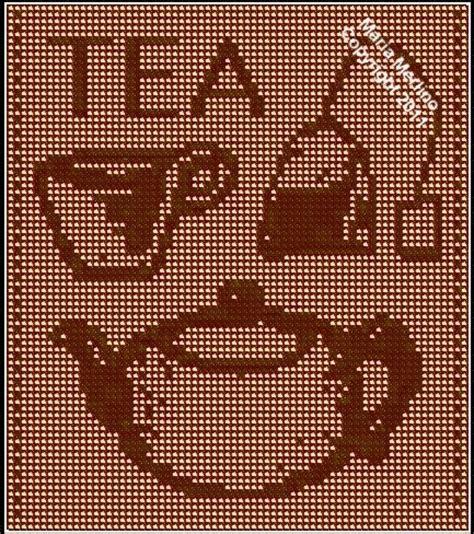free filet crochet curtain patterns pot of tea filet curtain gt free pattern link crochet