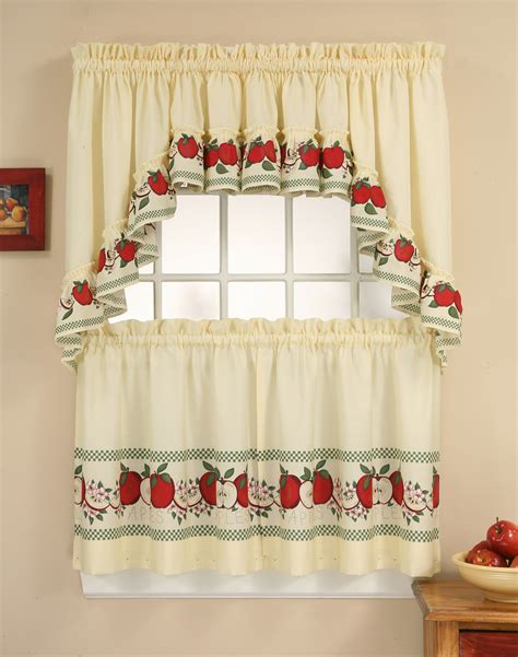 apple curtains for kitchen red delicious 3 piece kitchen curtain tier set