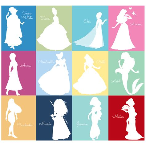 Princess Home Decor free disney princess silhouette prints