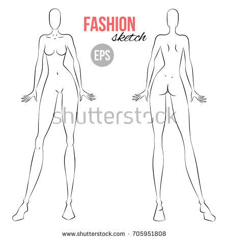 fashion illustration front and back vector outline model template fashion stock vector
