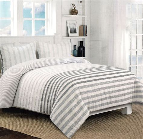nicole miller home bedding nicole miller grey white gray seersucker full queen 3pc