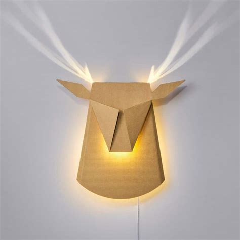 decorative wall lights for homes glowing led cardboard antlers are the greenest reindeer ever