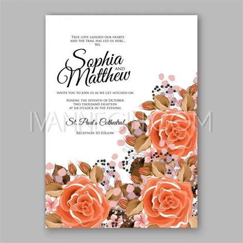 unique orange wedding invitations orange floral wedding invitation printable gold