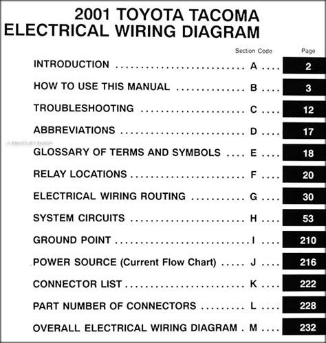 2001 toyota tacoma wiring diagram manual original