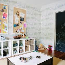 playroom with ikea kallax shelving unit and burlap pin boards transitional boy s room