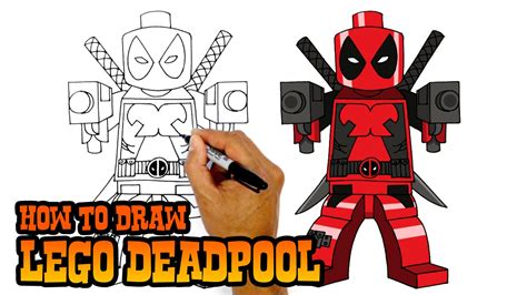 how to draw lego deadpool drawing lesson youtube
