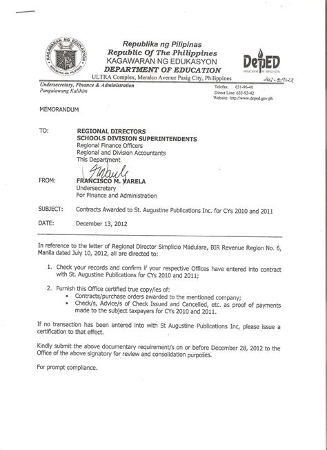 authorization letter meralco application accounting division deped central office home