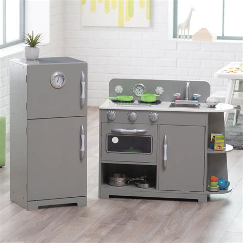 kitchen set pic classic playtime 2 pc classic wooden play kitchen set gray play kitchens at hayneedle