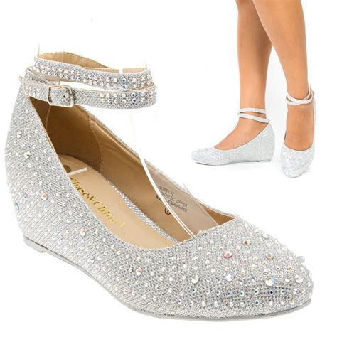 Silver Wedge Wedding Shoes by Silver Ankle Low Wedge Heel