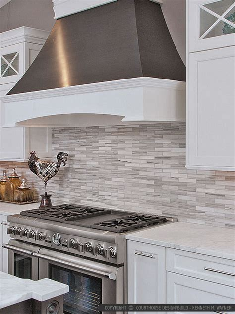 Kitchen Tile Backsplash Ideas With White Cabinets by Modern White Gray Subway Marble Backsplash Tile