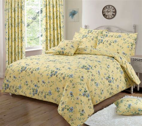 flower design quilt set lemon yellow pretty floral design reversible bedding duvet