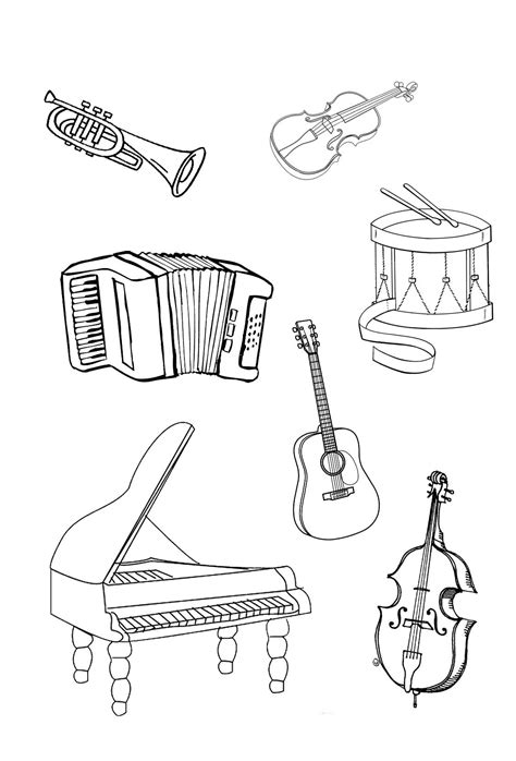 U Of M Coloring Pages by Musical Instruments Coloring Pages To And Print