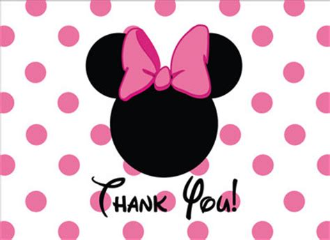 Minnie Mouse Thank You Card Template by Items Similar To Minnie Mouse Thank You Card In Pink On Etsy