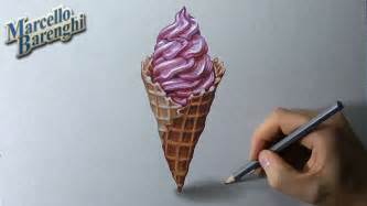 how to draw a 3d ice cream cone youtube