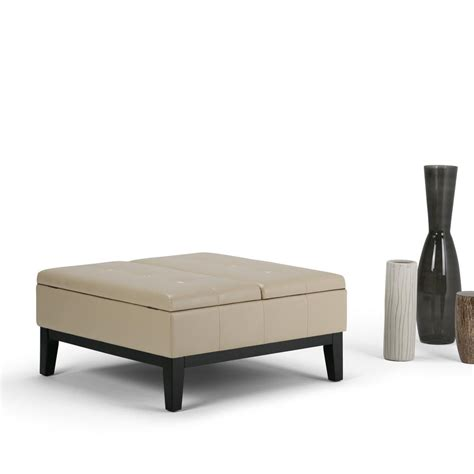 cream leather ottoman coffee table abbyson living manchester dark brown leather square coffee