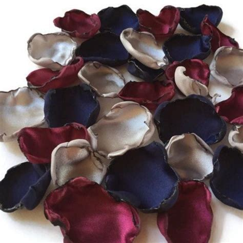 Navy Blue, Marsala maroon and silver flower petals, rose