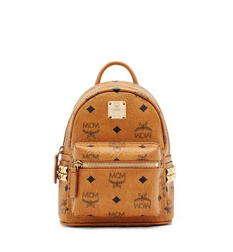 Mcm Stark Bebe Boo Backpack Mini mcm stark bebe boo backpack in brown lyst