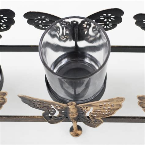 butterfly gold black metal candle holder glass tealight