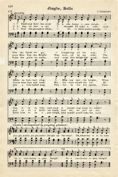songs free vintage sheet graphic jingle bells