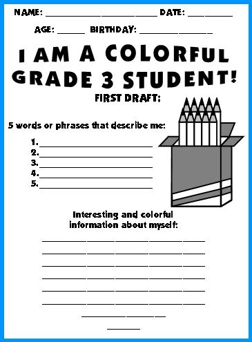 Grade 3 School Worksheets by Color Pencil Templates Writing Topic Quot We Are Colorful