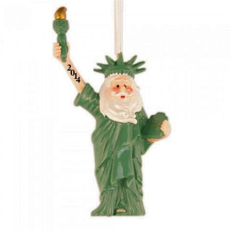 santa statue of liberty 3d personalized christmas ornament