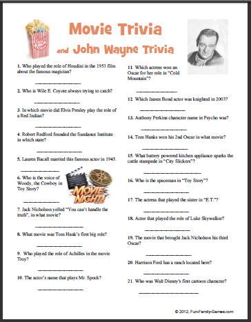 film related quiz questions john wayne trivia printable video search engine at
