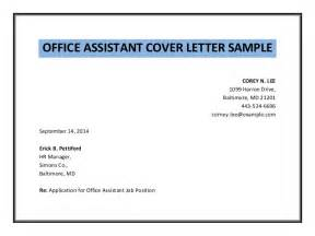 office assistant cover letter sle