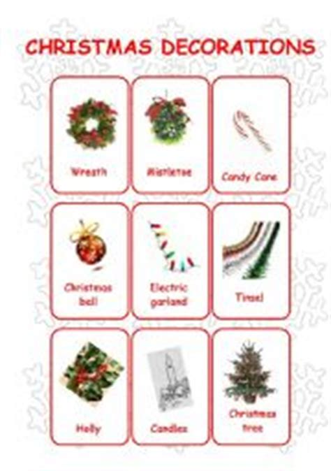 christmas flashcards set 1 decorations