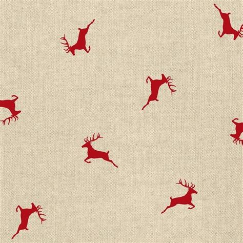 Home Interiors Ebay Red Stag Christmas Fabric Natural Linen Look Upholstery