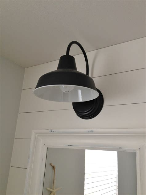 industrial bathroom light fixtures barn wall sconce lends farmhouse look to powder room