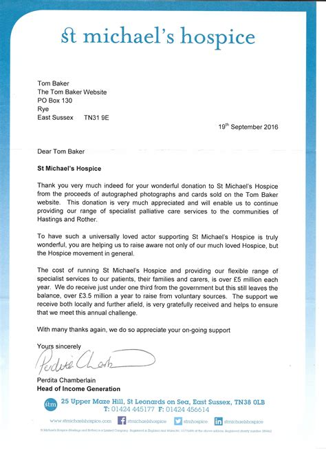 Donation Letter To Hospice Donation To St Michael S Hospice Tom Baker Official
