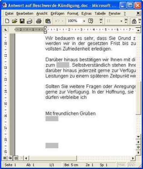 Musterbrief Beschwerde Antwort Musterbrief Antwort Auf Beschwerde Runterladen Gesch 228 Ftlich