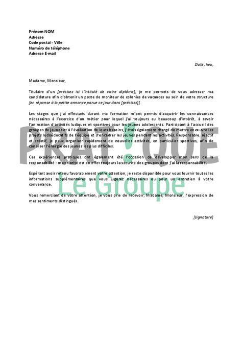 Lettre De Motivation De Moniteur Educateur lettre de motivation stage moniteur educateur document