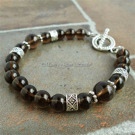 Handmade Mens Jewelry - smoky quartz gemstone beaded bracelet for handmade