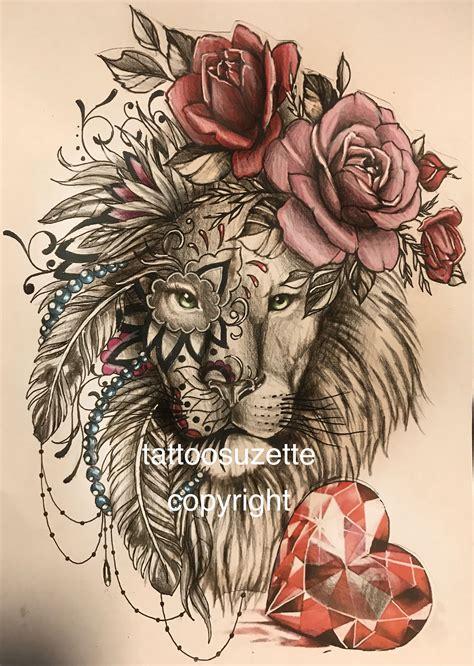 girly lion tattoos girly design animal tattoos