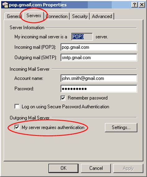 server gmail setting up gmail in outlook express