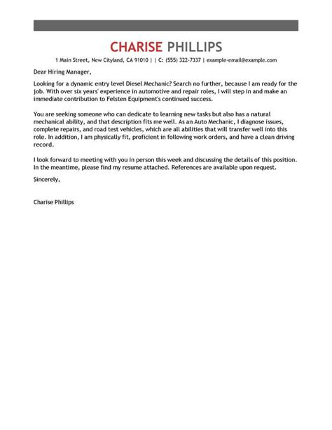 Cover Letter Entry Level by Best Entry Level Mechanic Cover Letter Exles Livecareer