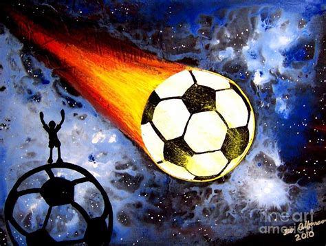 soccer painting world cup soccer flaming soccer by teo alfonso