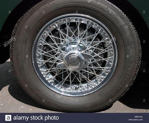 jaguar wire wheels chrome wire wheel detail jaguar xk150 stock photo royalty