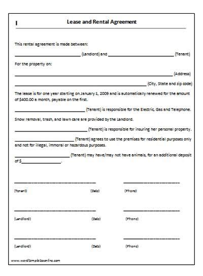 Rent Lease Agreement Real Estate Forms No Shop Agreement Template
