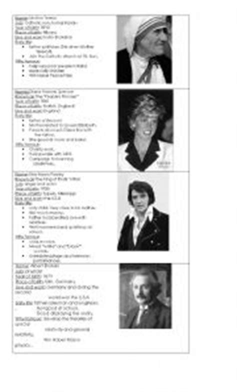 esl famous person biography english worksheets famous people biographies