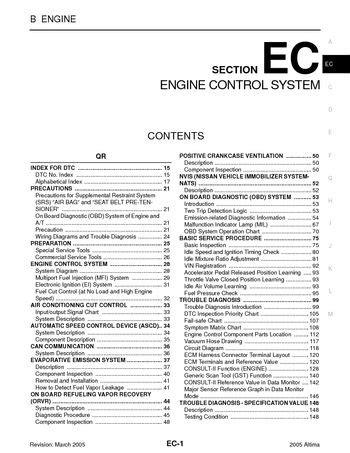on board diagnostic system 2007 nissan 350z engine control 2005 nissan altima emission control system section ec pdf manual 1350 pages