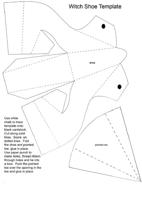 foldable witch shoe template printable