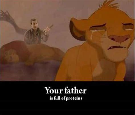 Mufasa Meme - bear grylls eats mufasa