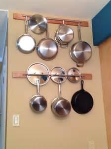 pots and pans rack cottage kitchen