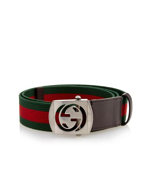 Belt Gucci Canvas Gold Premium lyst gucci gg buckle canvas belt in for