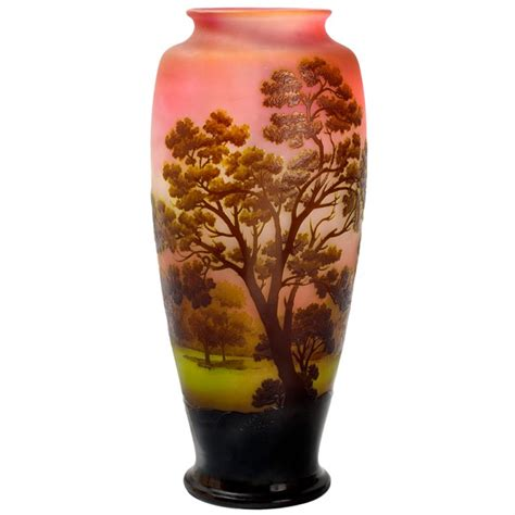 Galle Glass Vase by 201 Mile Gall 233 Nouveau Cameo Glass Quot Landscape Quot Vase At