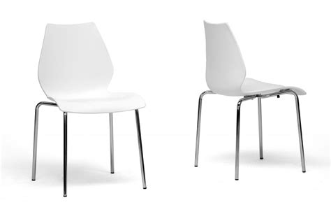 White Plastic Dining Chairs Baxton Studio Overlea White Plastic Modern Dining Chair Set Of 2