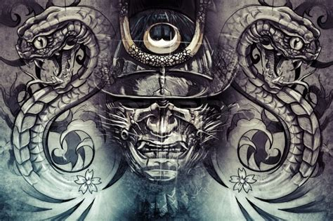 japanese snake tattoo black and grey japanese mask and snakes tattoo design over grey