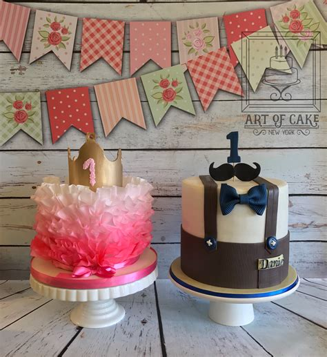 birthday themes for twin boy and girl boy and girl twins 1st birthday cake pinteres